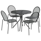 Lancaster Table & Seating Harbor Black 36 inch Round Dining Height Powder-Coated Steel Mesh Table with Modern Legs and 4 Side Chairs