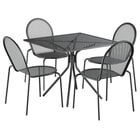 Lancaster Table & Seating Harbor Black 36 inch Square Dining Height Powder-Coated Steel Mesh Table with Modern Legs and 4 Side Chairs