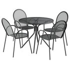Lancaster Table & Seating Harbor Black 36 inch Round Dining Height Powder-Coated Steel Mesh Table with Modern Legs and 4 Armchairs