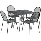 Lancaster Table & Seating Harbor Black 36 inch Square Dining Height Powder-Coated Steel Mesh Table with Ornate Legs and 4 Armchairs