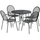 Lancaster Table & Seating Harbor Black 36 inch Round Dining Height Powder-Coated Steel Mesh Table with Ornate Legs and 4 Armchairs