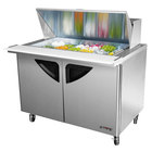 Turbo Air TST-48SD-18 48 inch Super Deluxe Stainless Steel Mega Top Refrigerated Salad / Sandwich Prep Table with Two Doors and Deluxe Shelving