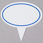 Oval Write-On 2 5/8 inch x 1 5/8 inch Deli Sign Spear with Solid Blue Border - 25/Pack