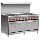 Cooking Performance Group 60-CPGV-10B-S26 Liquid Propane 10 Burner 60 inch Range with Two 26 1/2 inch Standard Ovens