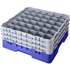 Cambro 36S800168 Blue Camrack Customizable 36 Compartment 8 1/2 inch Glass Rack