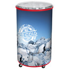 IRP Red Merch I 100 Mobile 70 Qt. Barrel-Style Merchandiser with Heavy Duty Casters