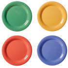 GET NP-6-MIX Diamond Mardi Gras 6 1/2 inch Narrow Rim Round Melamine Plate, Assorted Colors - 48/Case