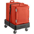 CaterGator Red Insulated Front Loading 5-Pan Carrier with Black Dolly and Strap