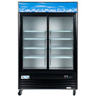 "Avantco GDS47 53"" Black Sliding Glass Door Merchandiser Refrigerator with LED Lighting"