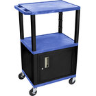 Luxor / H. Wilson WT2642BUC2E-B Blue Tuffy Two Shelf Adjustable Height A/V Cart with Locking Cabinet - 18 inch x 24 inch