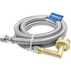 EF-DC-38CHBL-48 48 inch Stainless Steel Braided Dishwasher Connector with 3/8 inch Compression x 3/4 inch Garden Hose Elbow