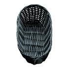 Tablecraft 2417 Black Oblong Rattan Basket 9 inch x 3 1/2 inch x 2 inch 12 / Pack