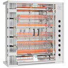 Rotisol-France FauxFlame FF1175-6E-SS Stainless Steel Electric Rotisserie with 6 Spits