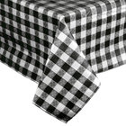 Black-Checkered Vinyl Table Cover with Flannel Back