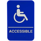 ADA Handicap Accessible Sign with Braille - Blue and White, 9 inch x 6 inch
