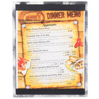 8 1/2 inch x 11 inch Menu Solutions ALSIN811-ST Alumitique Single Panel Swirl Finish Aluminum Menu Board with Top and Bottom Strips