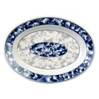 Thunder Group 2114DL Blue Dragon 14 1/8 inch x 10 5/8 inch Oval Melamine Deep Platter - 12/Pack
