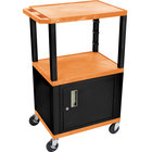Luxor / H. Wilson WT2642ORC2E-B Orange Tuffy Two Shelf Adjustable Height A/V Cart with Locking Cabinet - 18 inch x 24 inch