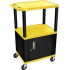 Luxor / H. Wilson WT2642YC2E-B Yellow Tuffy Two Shelf Adjustable Height A/V Cart with Locking Cabinet - 18 inch x 24 inch