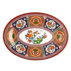 Thunder Group 2014TP Peacock 14 inch x 10 inch Oval Melamine Platter - 12/Pack