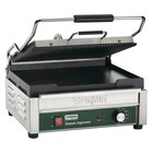 Waring WDG250 14 1/2 inch x 11 inch Grooved Top & Smooth Bottom Panini Sandwich Grill 120V
