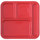 Carlisle 4398405 10 inch x 9 3/4 inch Red Melamine Right Hand 4 Compartment Tray