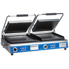 Globe GSGDUE14D Deluxe Double Sandwich Grill with Smooth Plates - Dual 14 inch x 14 inch Cooking Surfaces - 208/240V, 7200W