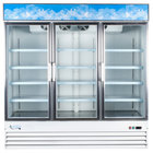"Avantco GDC-69 79"" White Three Section Swing Glass Door Merchandising Refrigerator with LED Lighting"
