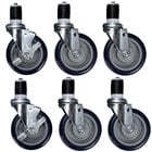 Regency 5 inch Heavy Duty Swivel Stem Casters for Work Tables and Equipment Stands - 6/Set