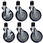 5 inch Heavy Duty Swivel Stem Casters for Work Tables and Equipment Stands   - 6/Set