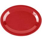 Carlisle 3308205 Sierrus 12 inch x 9 1/4 inch Red Oval Melamine Platter - 12/Case