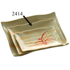 Thunder Group 2414 Gold Orchid 13 1/2 inch x 9 1/8 inch Rectangular Melamine Wave Plate - 12/Pack