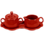 Homer Laughlin 821326 Fiesta Scarlet China Sugar and Creamer Tray Set - 4/Case