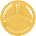 Carlisle 3300022 Sierrus 10 1/2 inch Honey Yellow 3 Compartment Narrow Rim Melamine Plate - 12/Case