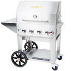 Crown Verity MCB-30-PKG Liquid Propane Portable Outdoor BBQ Grill / Charbroiler with Roll Dome, Outdoor Cover, Shelf, and Bun Rack
