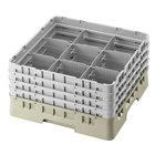 "Cambro 9S434184 Beige Camrack Customizable 9 Compartment 5 1/4"" Glass Rack"
