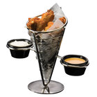 American Metalcraft SS92 Stainless Steel 1-Cone Basket with 2 Ramekins - 5 inch x 9 inch