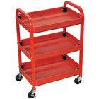 Luxor ATC332 Red Three Shelf Utility Cart Adjustable - 15 1/2 inch x 22 inch x 32 inch