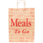 Duro Natural Kraft Paper Shopping Bag with Handles - Meals to Go Printing 12 inch x 9 inch x 16 inch - 200/Bundle