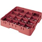 Cambro 16S900416 Camrack 9 3/8 inch High Customizable Cranberry 16 Compartment Glass Rack