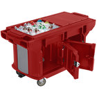 Cambro VBRUT5158 Hot Red 5' Versa Ultra Work Table with Storage and Standard Casters