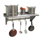 Advance Tabco PS-18-132 Stainless Steel Wall Shelf with Pot Rack - 18 inch x 132 inch