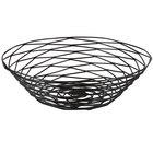Tablecraft BK17510 Artisan Round Black Wire Basket - 10 inch x 3 inch