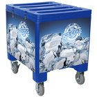 IRP 2000 Blue Ice Caddy 200 lb. Mobile Ice Bin / Beverage Merchandiser