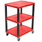 Luxor WT34RS Tuffy Red Three Shelf Utility Cart - 24 inch x 18 inch x 34 inch