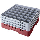 Cambro 36S958163 Red Camrack Customizable 36 Compartment 10 1/8 inch Glass Rack
