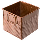 American Metalcraft BEVC655 3.375 Qt. 1/6 Size Copper Square Hammered Beverage Tub - 6 1/4 inch x 5 3/4 inch x 5 3/4 inch