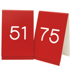 Cal-Mil 271C-1 Red Engraved Number Tent Sign Set 51-75 - 3 1/2 inch x 5 inch