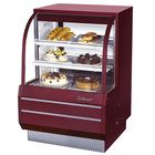 Turbo Air TCGB-36-DR Red 36 1/2 inch Curved Glass Dry Bakery Display Case - 10.9 Cu. Ft.