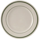 Tuxton TGB-006 Green Bay 6 5/8 inch Ivory (American White) Wide Rim Rolled Edge China Plate with Green Bands - 36/Case